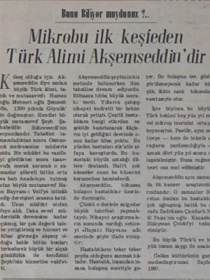 Mikrobu ilk keşfeden Türk Alimi Akşemseddin'dir